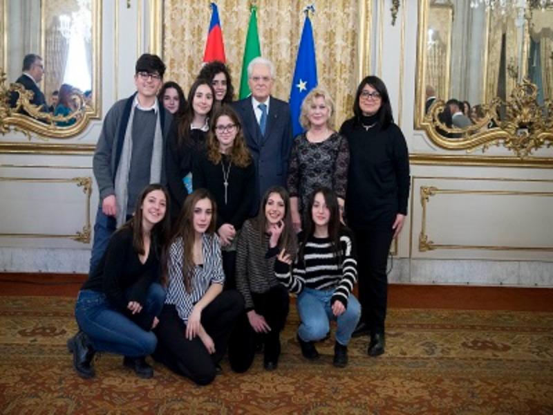 La III E con iI Presidente Sergio Mattarella
